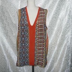 Anthropologie Tolani Tribal Silk Tunic Top L XL